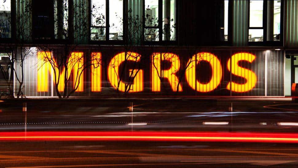 Migros supermarket sign