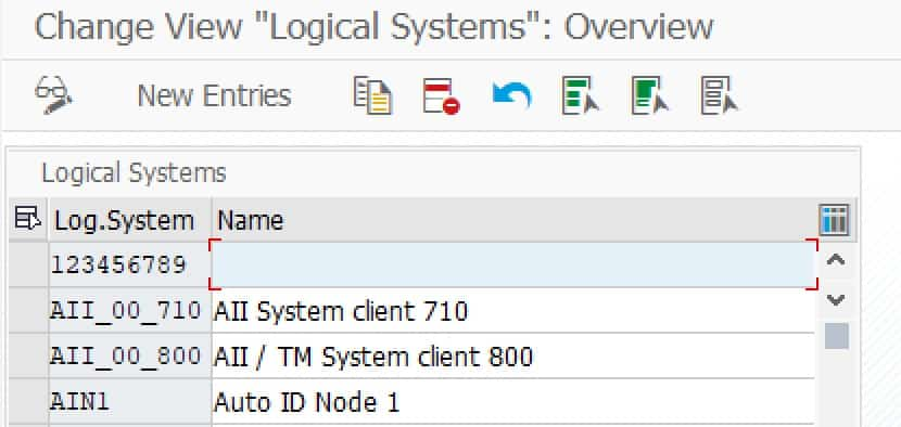 Logical systems in Transaction BD54