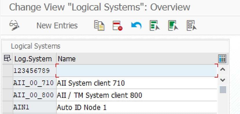 Logische Systeme in Transaktion BD54