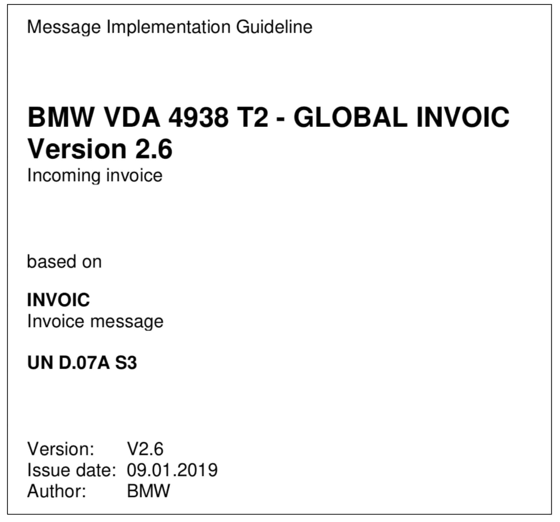 MIG für den EDI-Dokumenttyp INVOIC von BMW
