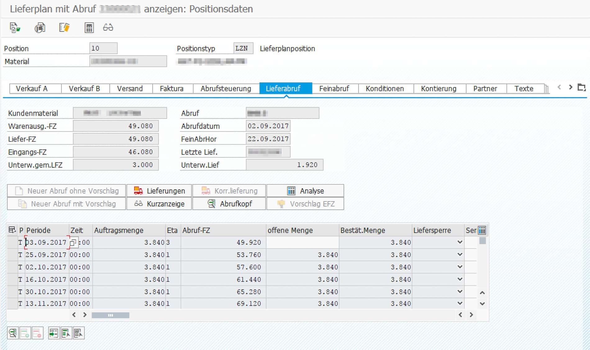 Beispiel für einen Lieferplan in Transaktion VA33