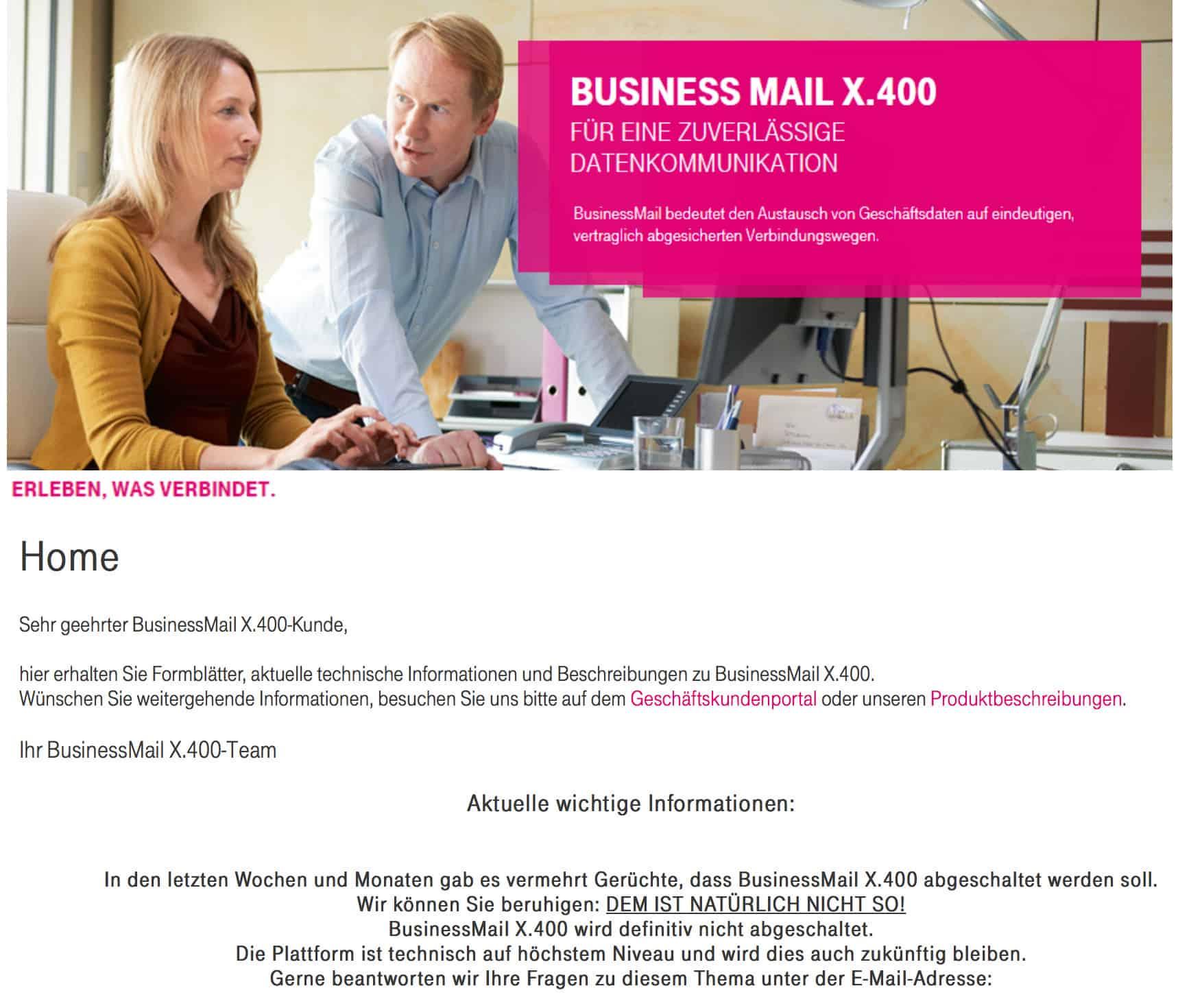 BusinessMail X.400-Hinweis der deutschen Telekom