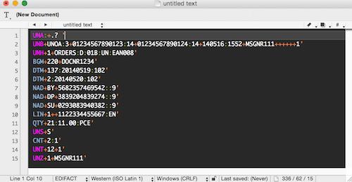 EDIFACT Syntax-Highlighting mit dunklem Farbschema