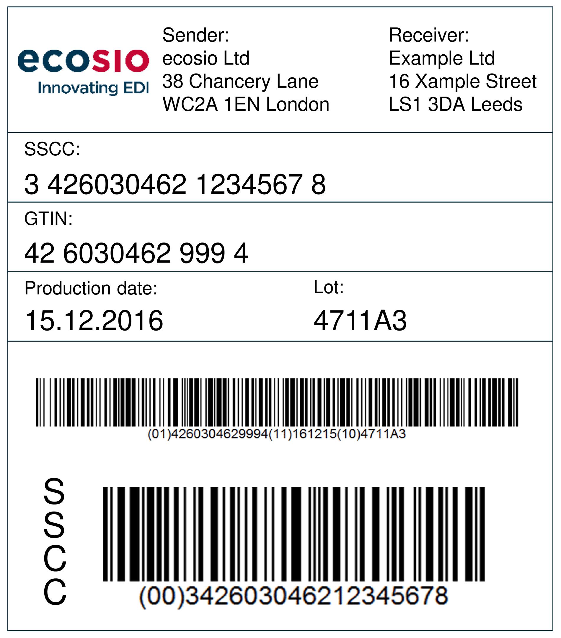 GS1 transport label