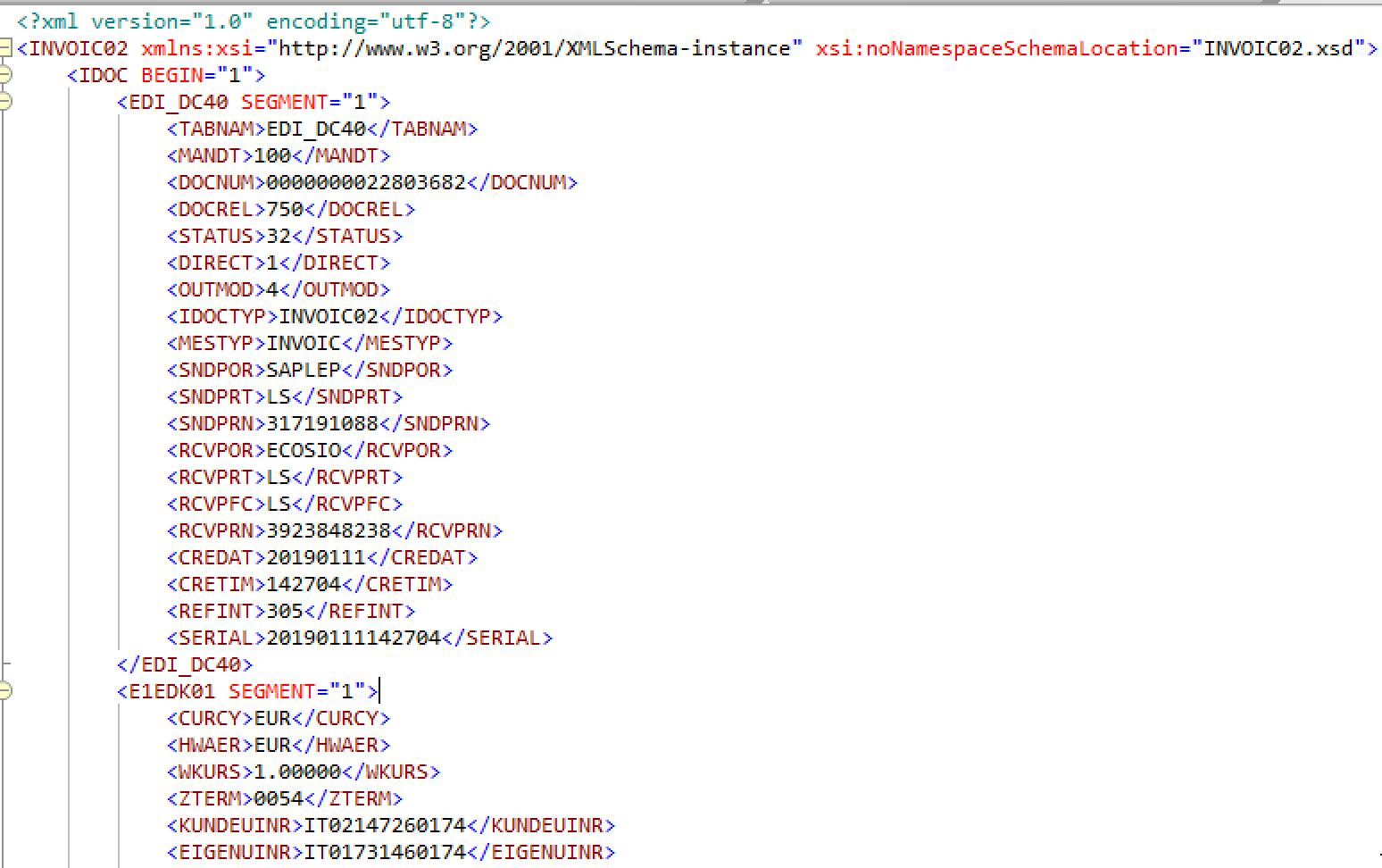 INVOIC02 Data Example