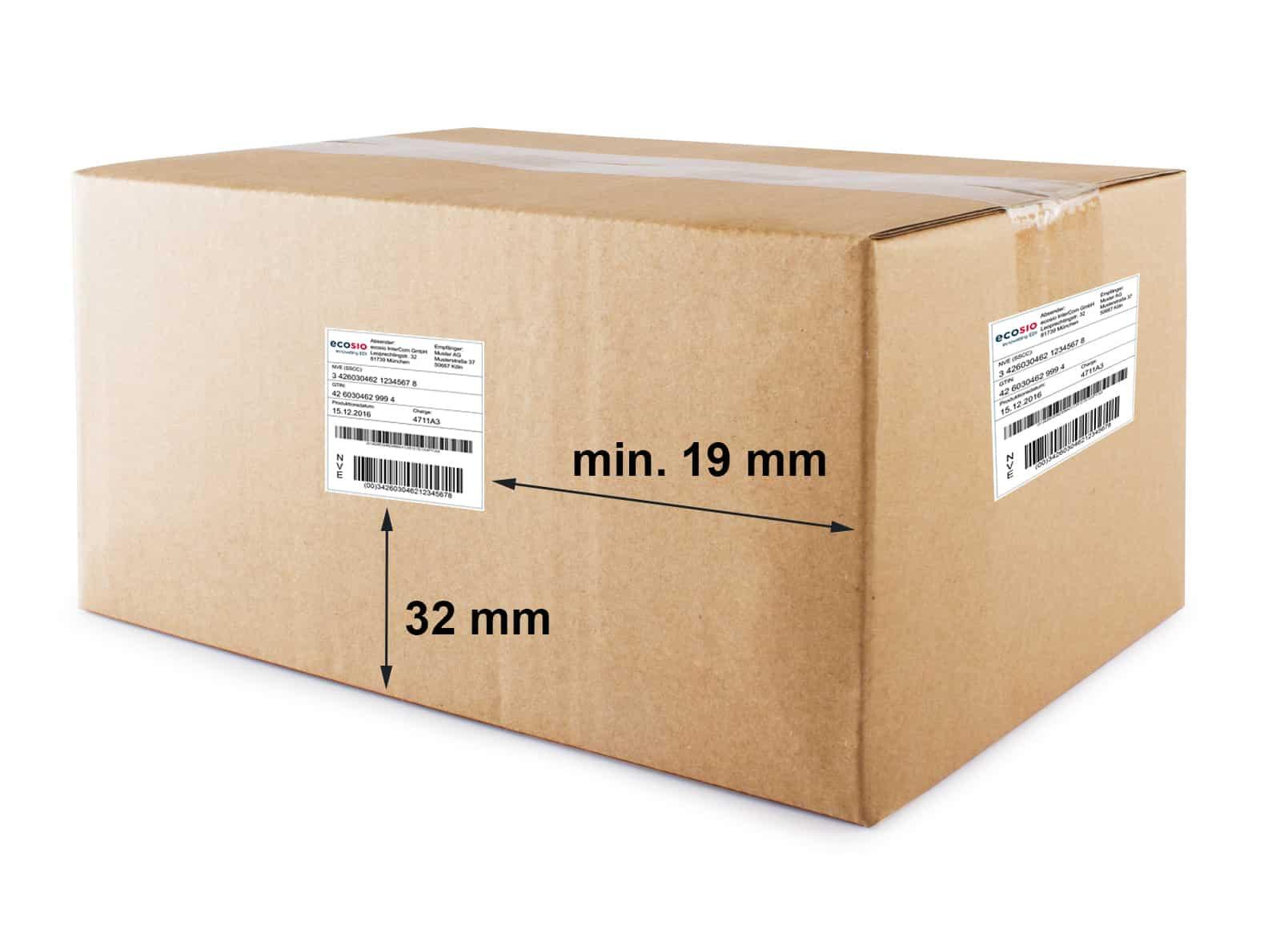 Beispiel für ein NVE-Etikett auf einem Karton