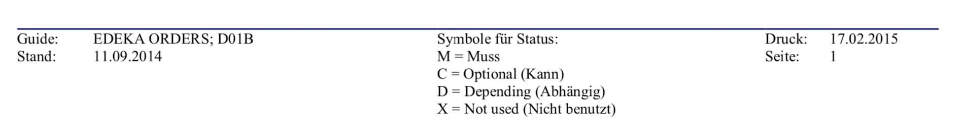 Beschreibung der verwendeten Codes die in der EDEKA ORDERS MIG benutzt werden.