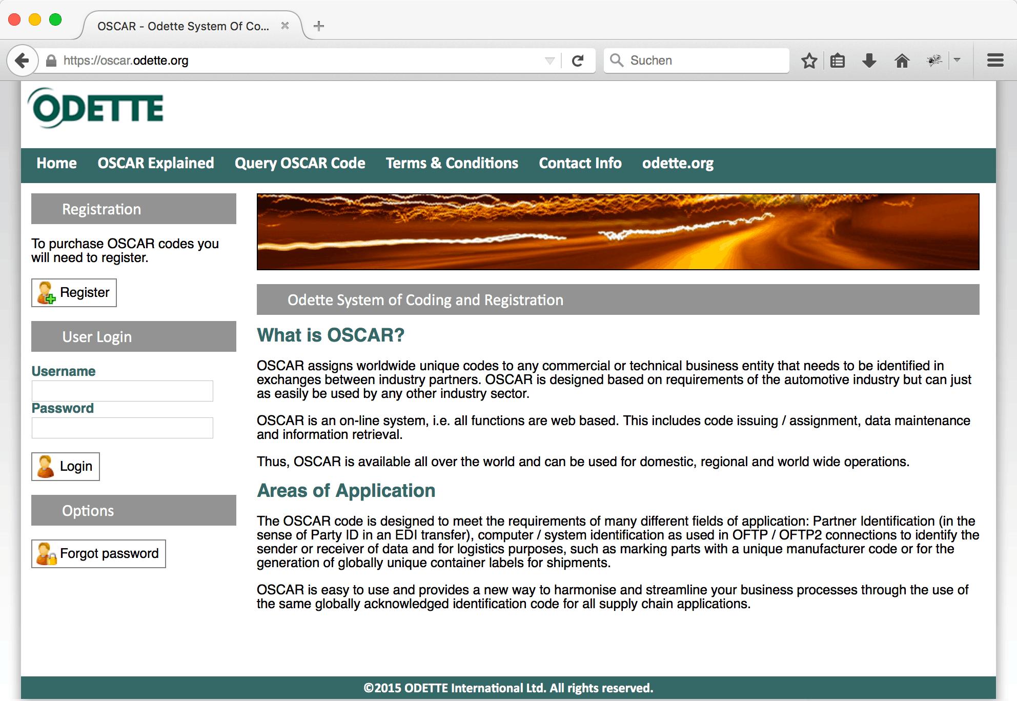 Screenshot der OSCAR-Webseite