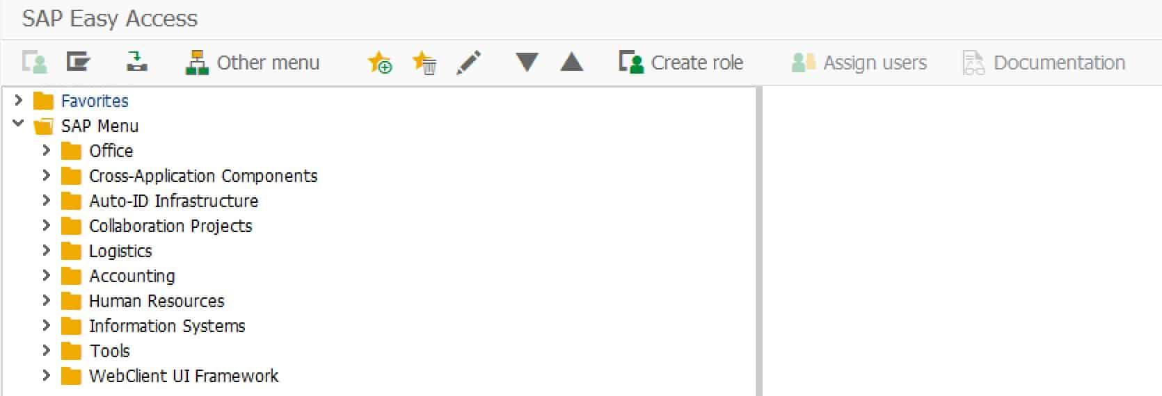 Start screen of an SAP ERP system