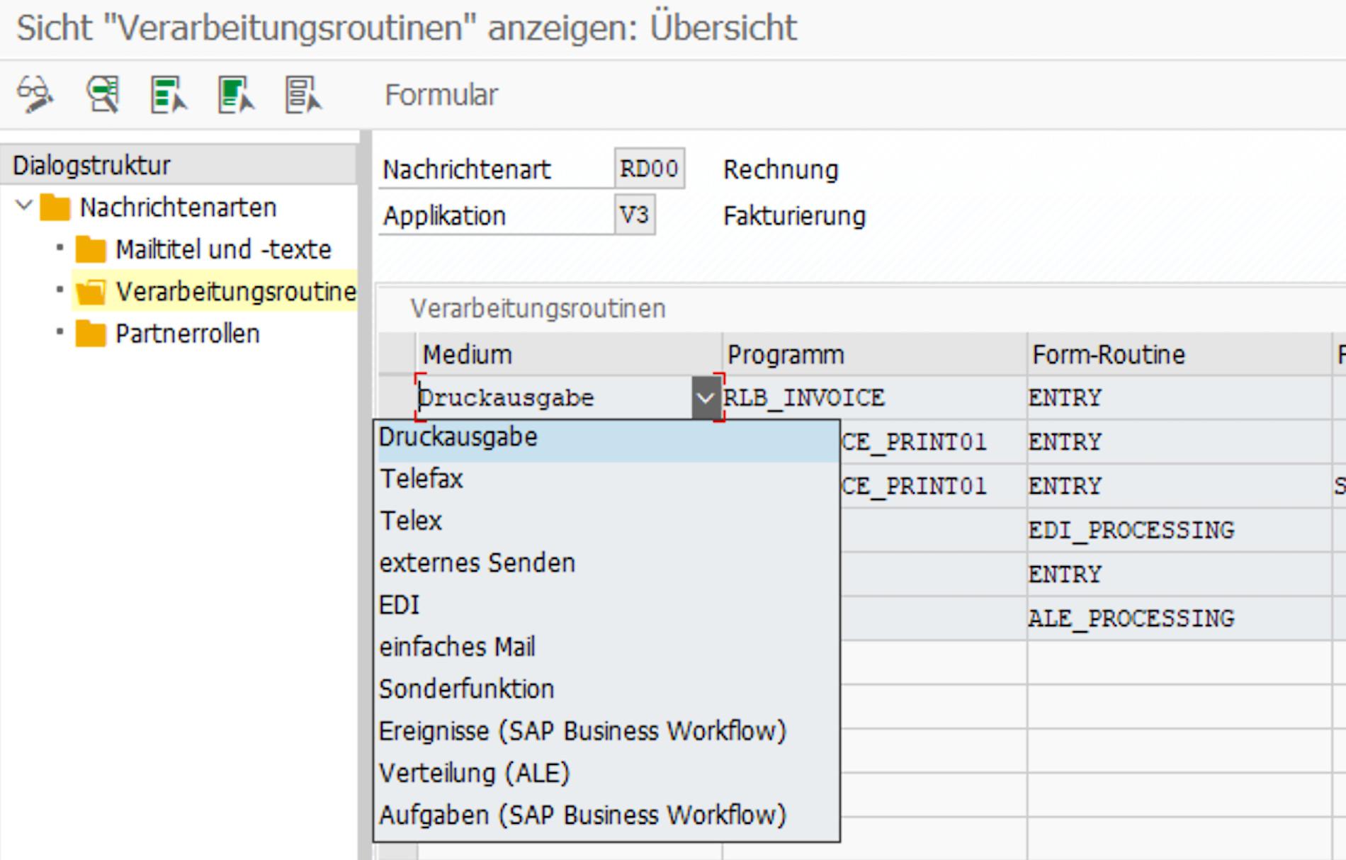 SAP-Customizing-Einstellungen zur Nachrichtenfindung.