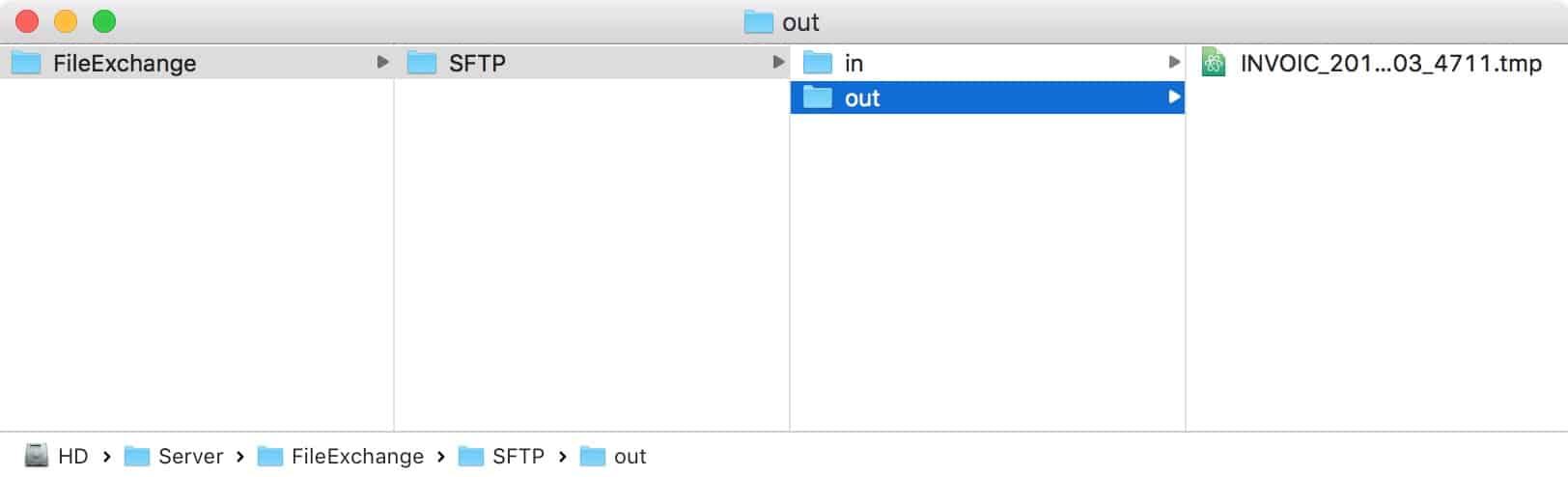 Schreiben der temporären Datei
