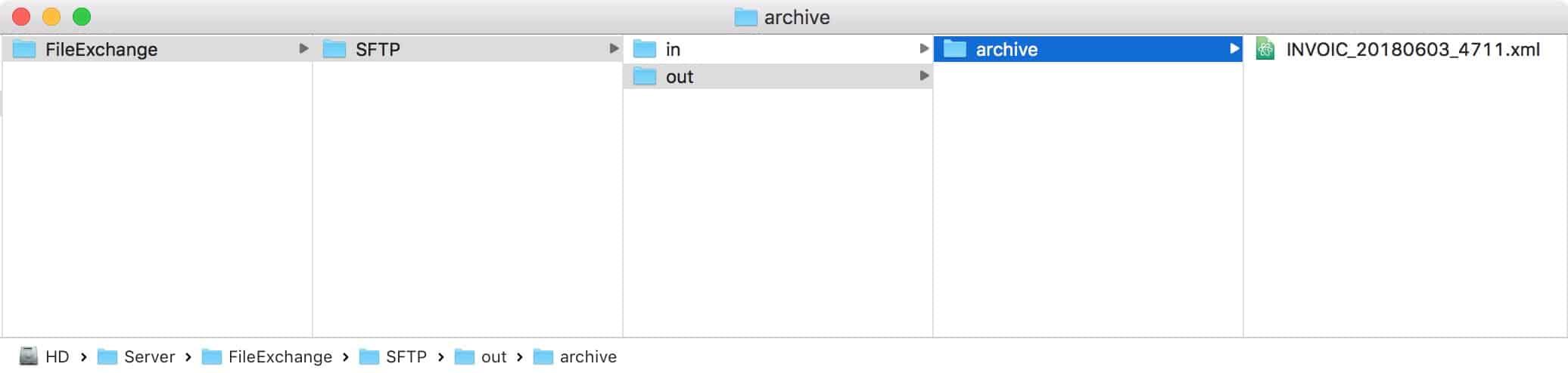 Lesen und Verschieben der Datei