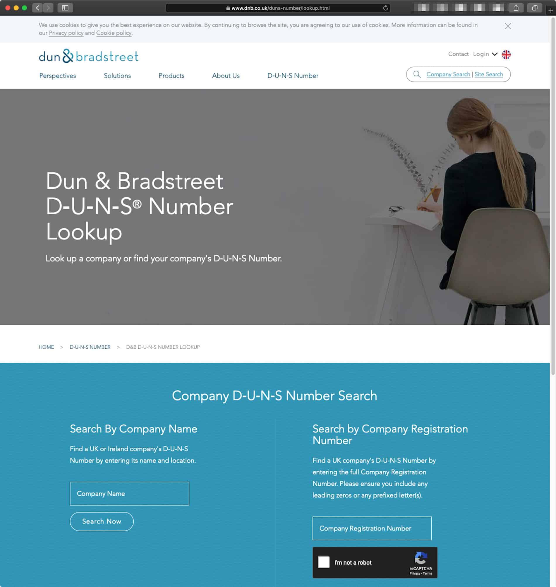 A Screenshot of the Dun & Bradstreet UK Platform