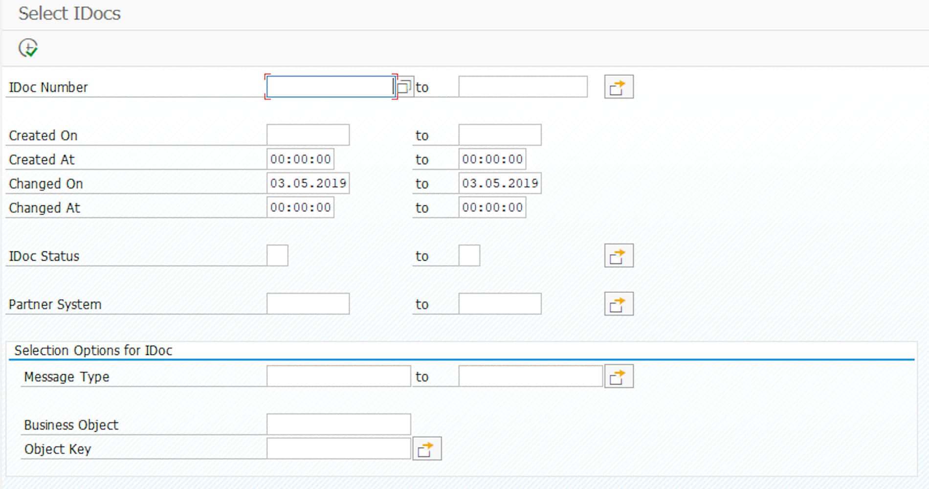 Selection screen of transaction BD87