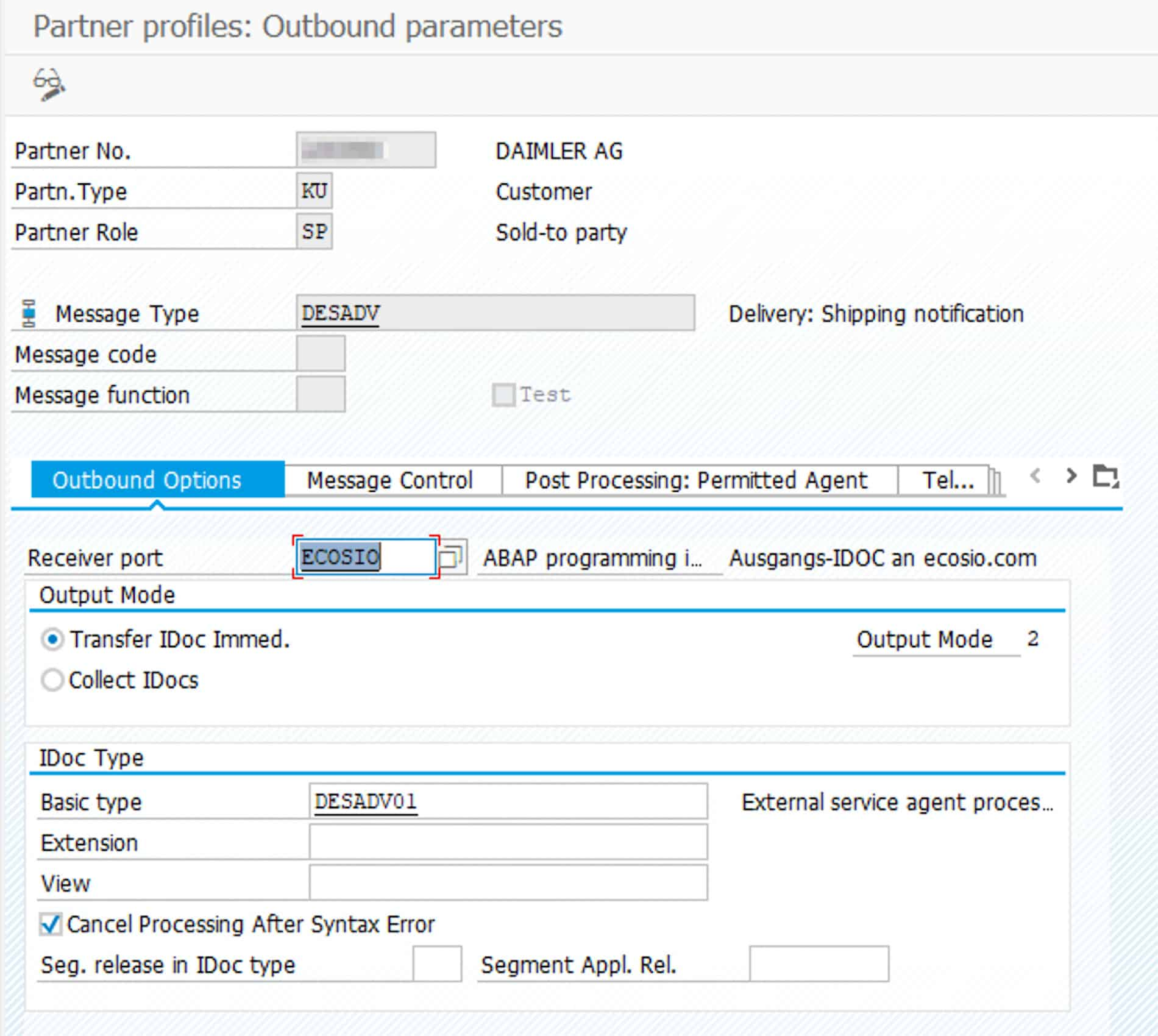 Example for an outbound partner agreement