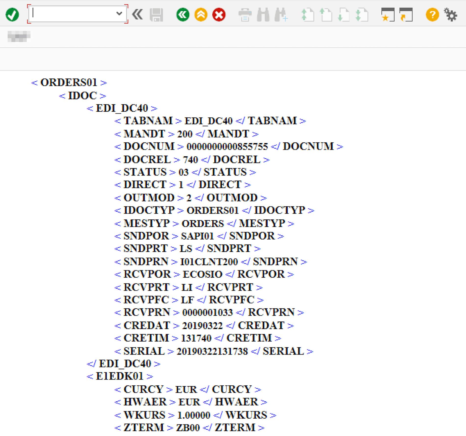 XML-Darstellung des IDoc
