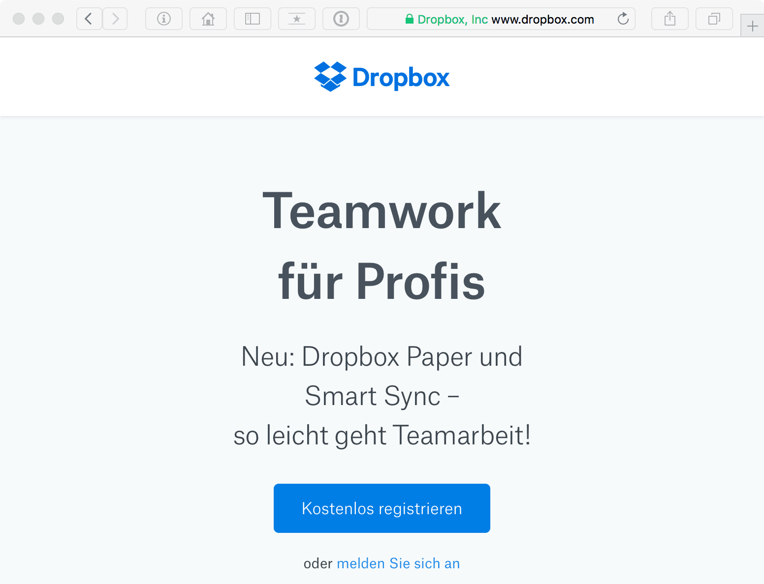 Teilen von Dateien mit Hilfe von Dropbox