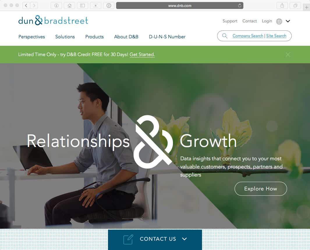 Screenshot der Dun & Bradstreet Webseite