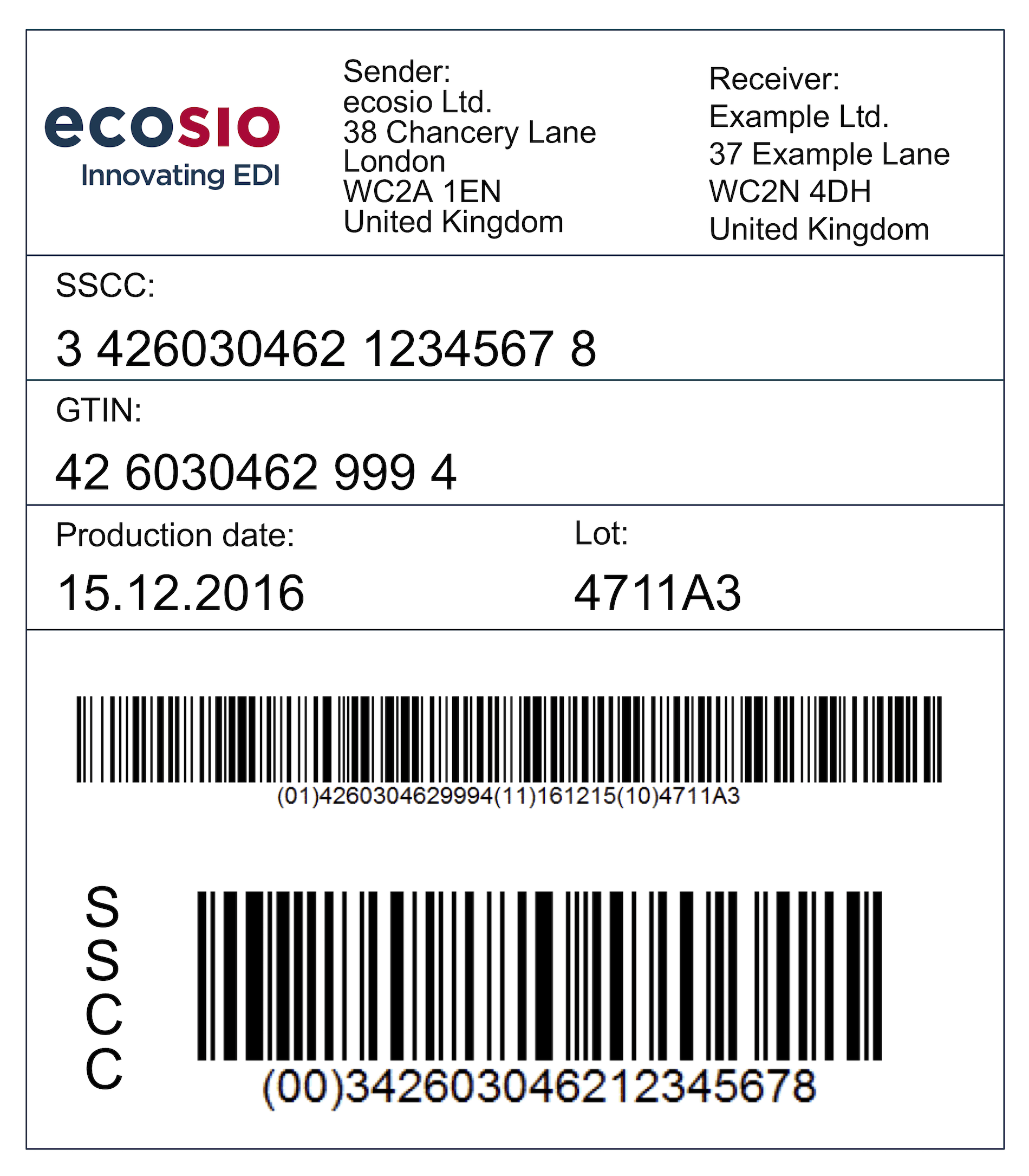 Example of a GS1 Label with SSCC