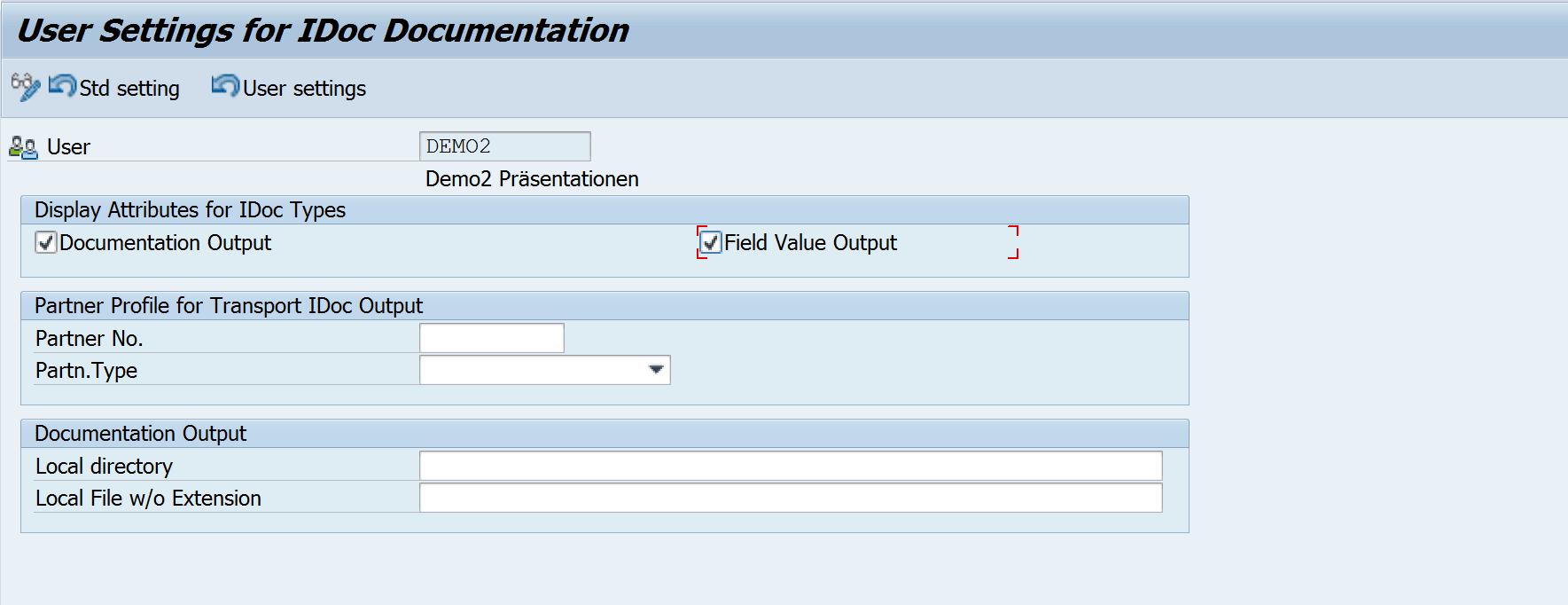 IDoc-Dokumentation Exportoptionen