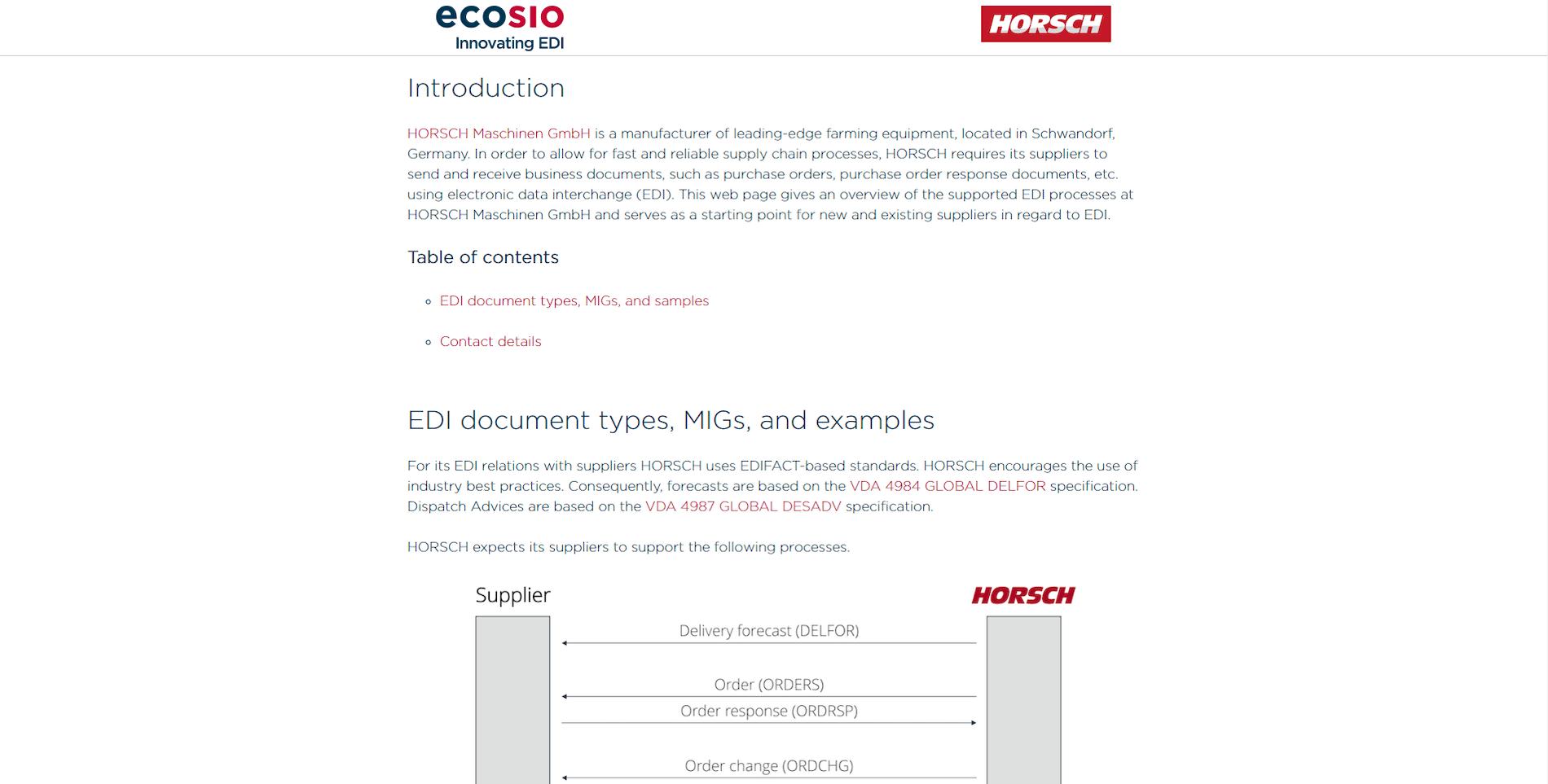 Das EDI-Portal der HORSCH Maschinen GmbH