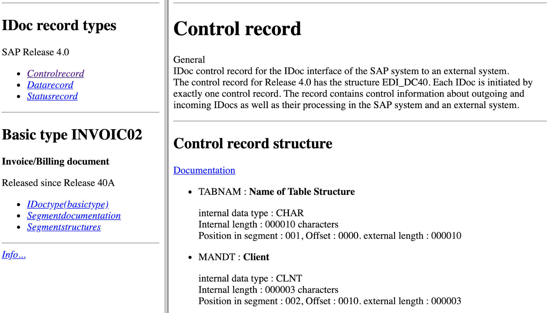 Extract of an INVOIC02 documentation
