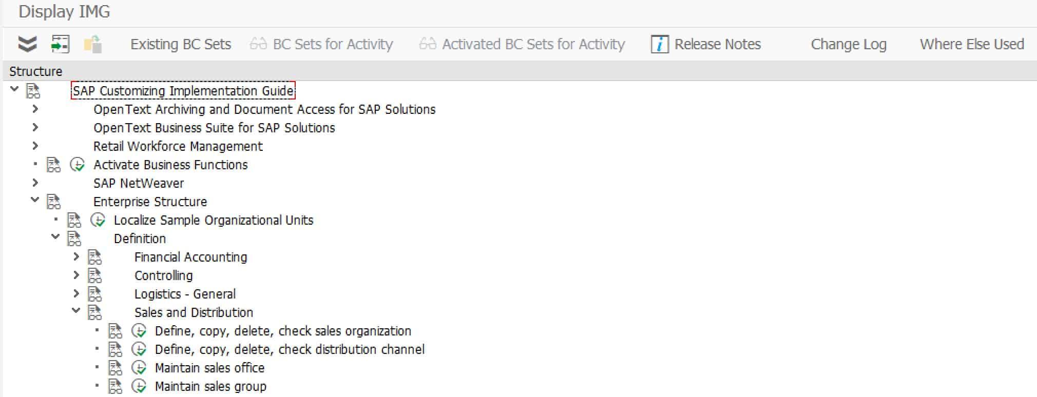 SAP Transaktion SPRO