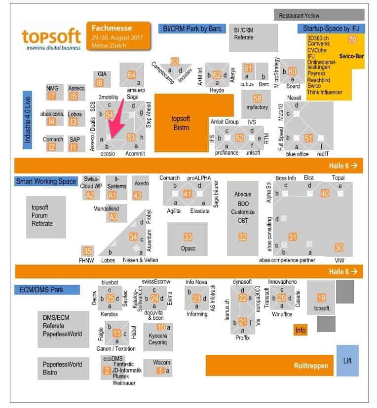 topsoft-Messe Hallenplan