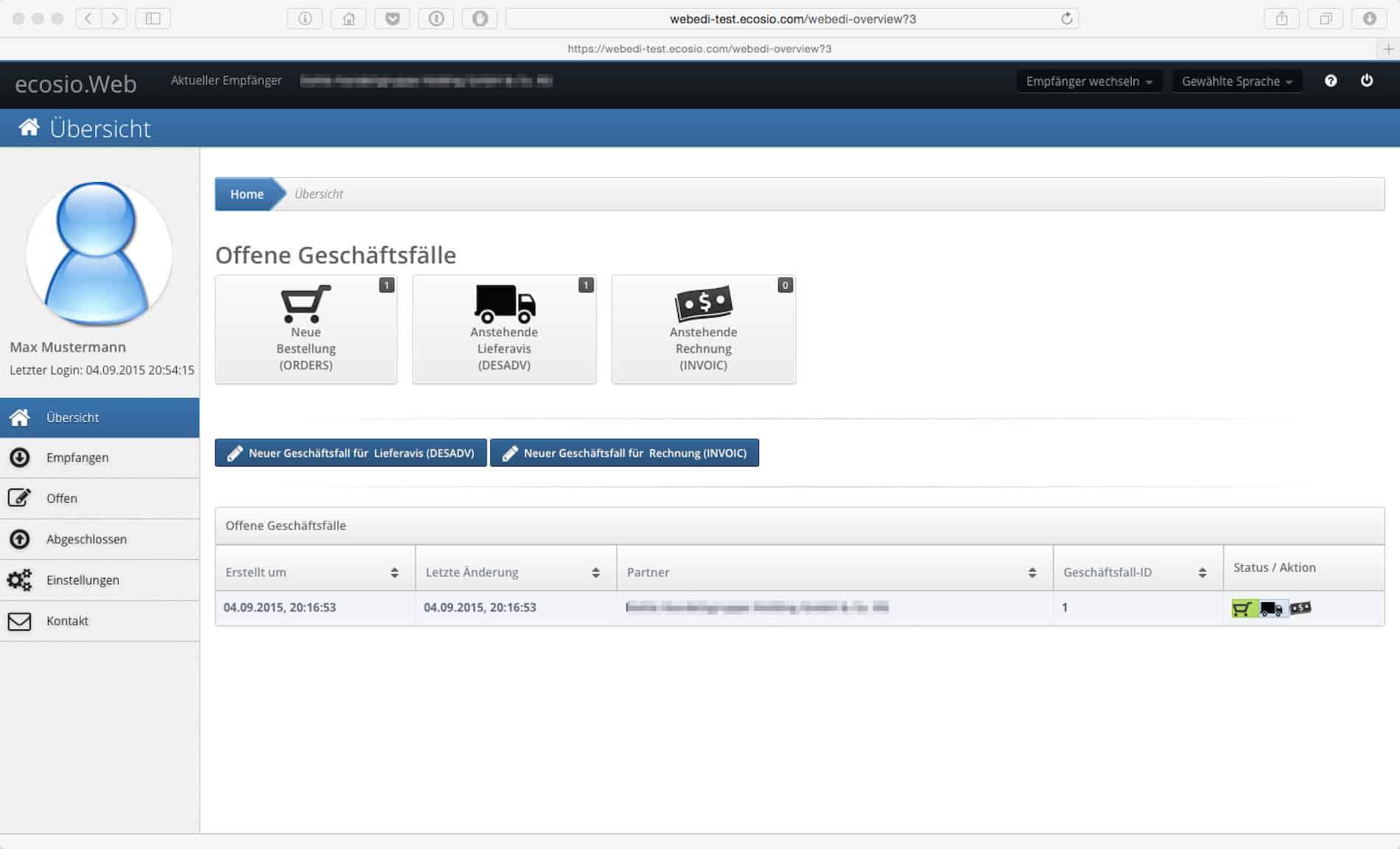 ecosio.Web Übersicht
