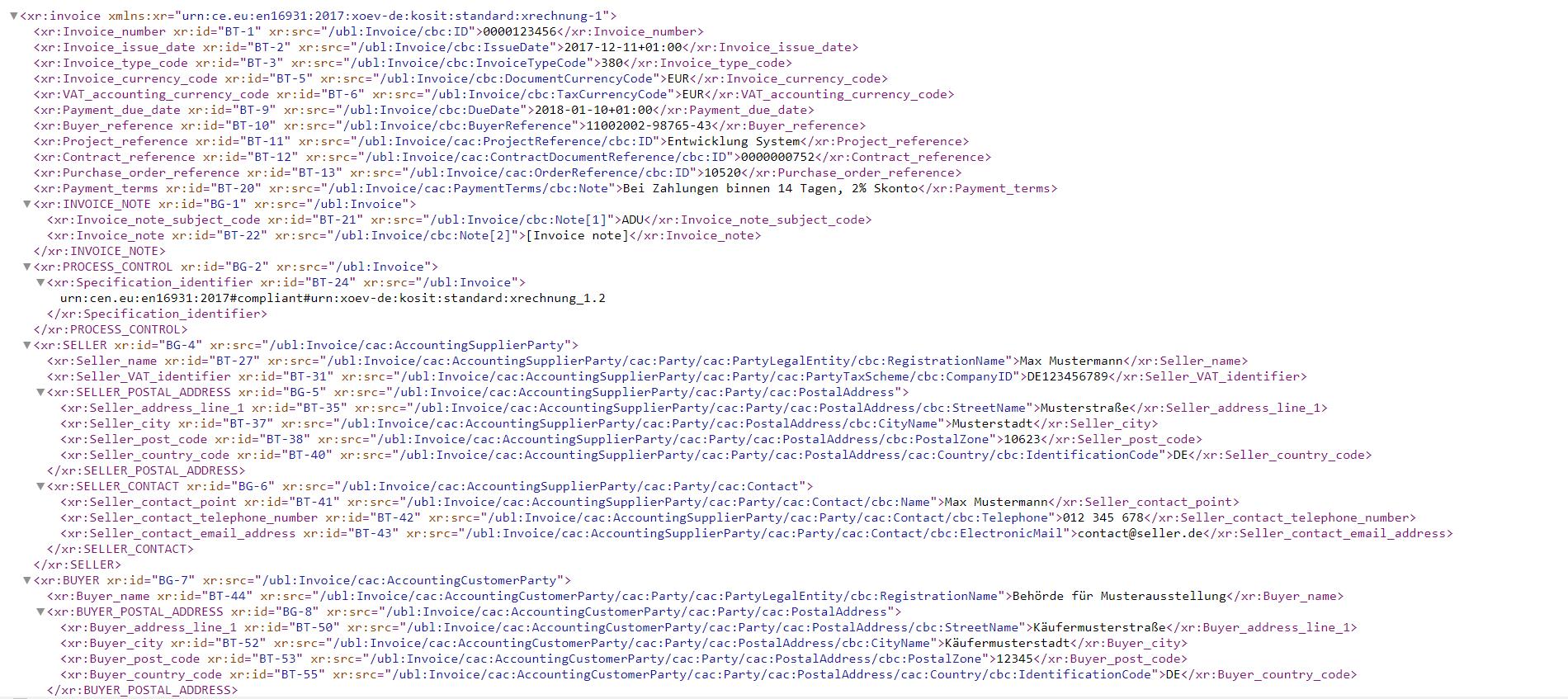 Ausschnitt einer XRechnung in UBL (Anklicken für größere Darstellung
