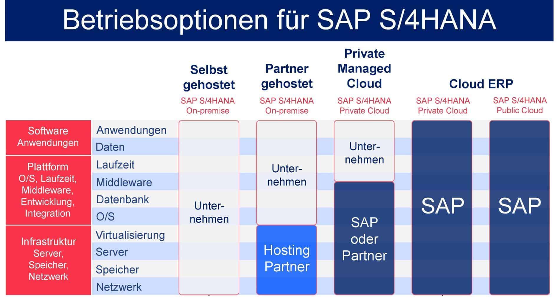 Die verschiedenen Betriebsoptionen für SAP S/4HANA