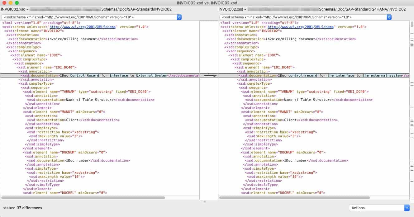 Grafik: Beispiel XML-Schema einer INVOIC02 IDoc im direkten Vergleich der SAP-Versionen SAP ERP ECC 6.0 und SAP S/4HANA
