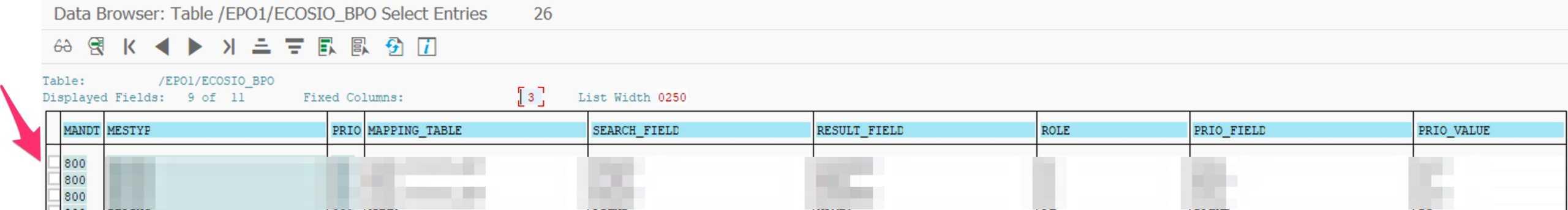 Eintrag in eine SAP Tabelle hinzufüge Transaktion SE16 Listenansicht