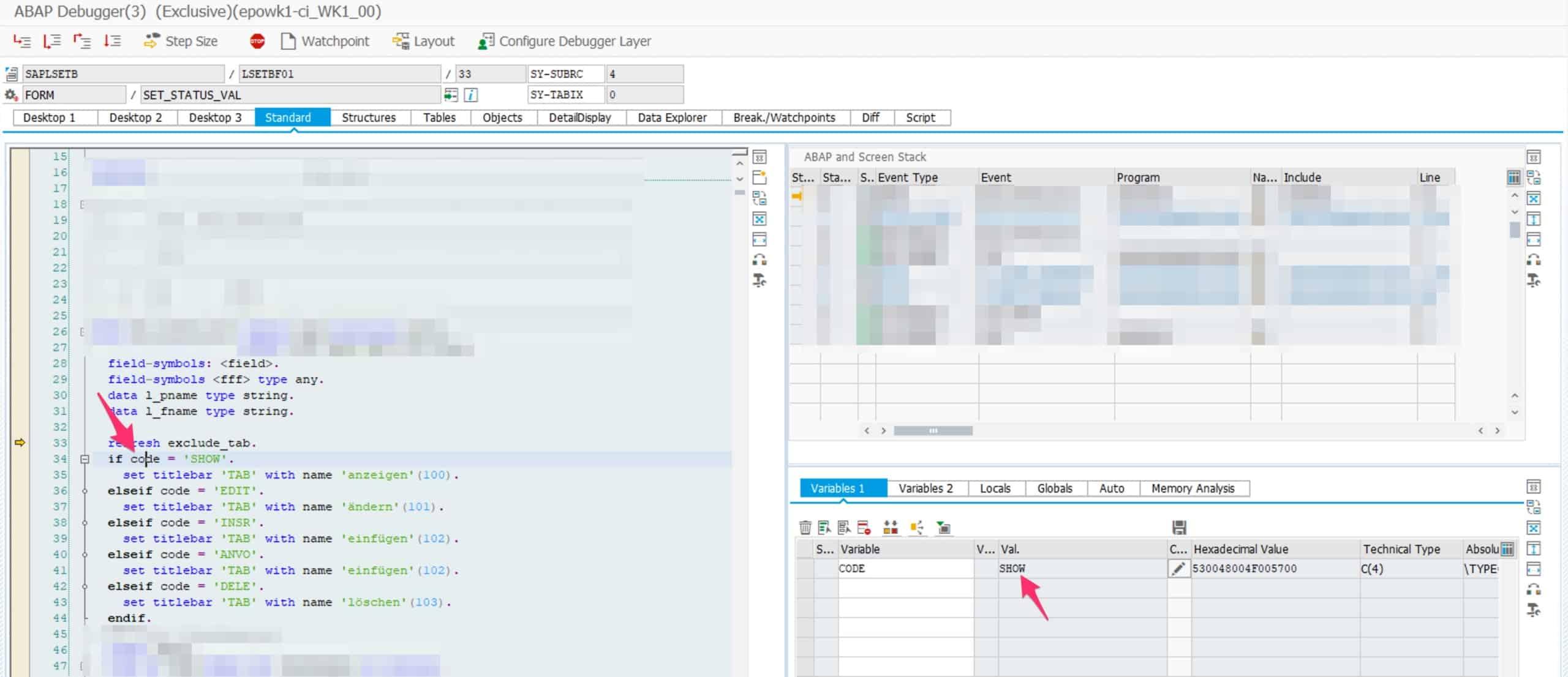 Eintrag in eine SAP Tabelle hinzufügen Transaktion Debug Modus zum Ändern einer Variable
