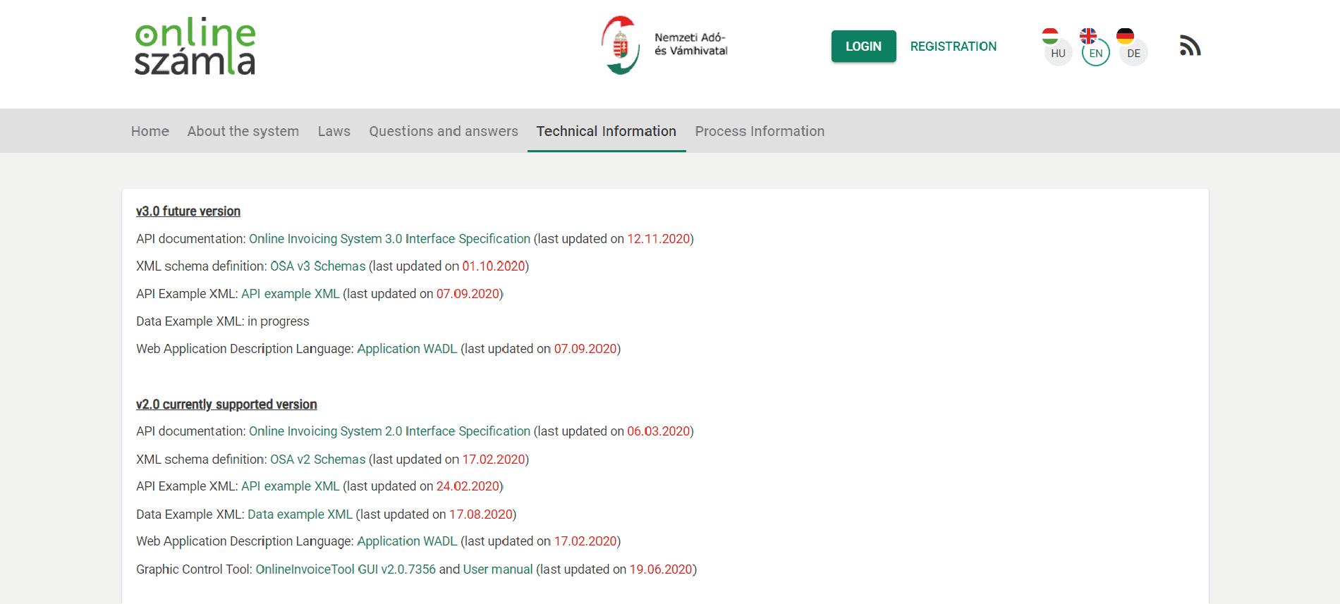 Website of the NAV system