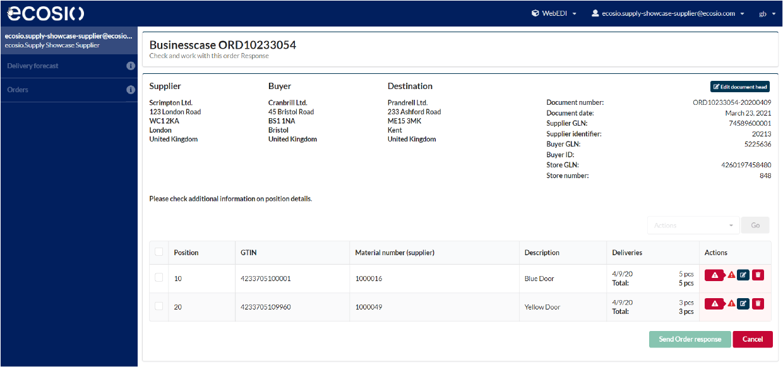 Web EDI Order