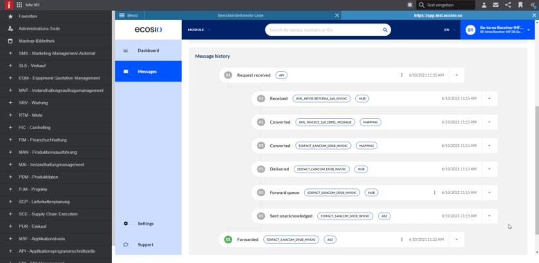 Grafik: Der Nachrichtenverlauf im ecosio-Monitor, integriert in Infor M3
